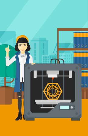 woman pointing up: An asian woman standing near 3D printer and pointing forefinger up on the background of panoramic modern office with city view vector flat design illustration. Vertical layout. Illustration