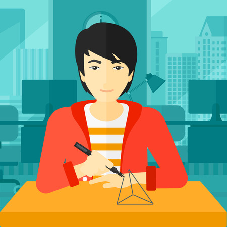 polymerization: An asian man making a model with a 3D pen on the background of panoramic modern office with city view vector flat design illustration. Square layout. Illustration