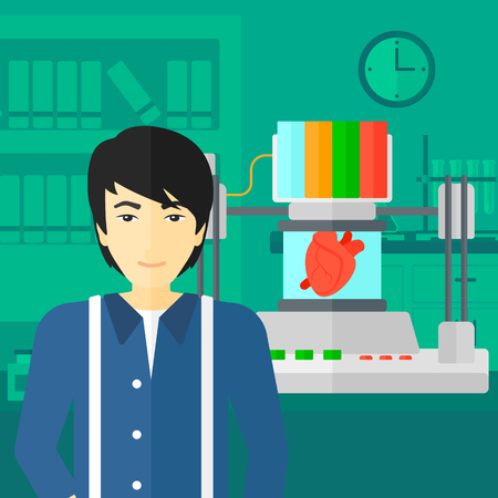 An asian man standing near 3D printer making a heart on the background of laboratory vector flat design illustration. Square layout. Illustration