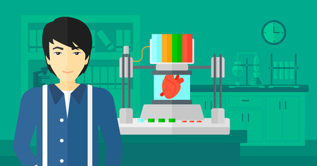 polymerization: An asian man standing near 3D printer making a heart on the background of laboratory vector flat design illustration. Horizontal layout.