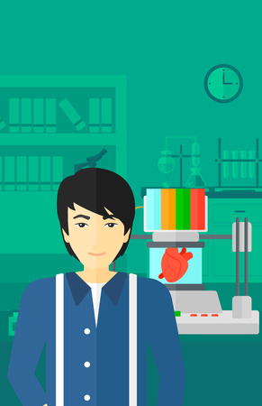 An asian man standing near 3D printer making a heart on the background of laboratory vector flat design illustration. Vertical layout.
