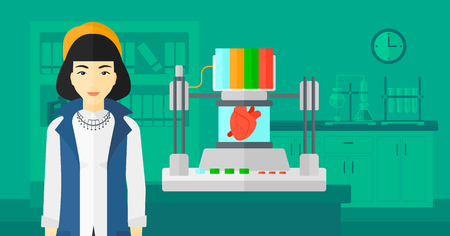 An asian woman with 3D printer making a heart on the background of laboratory vector flat design illustration. Horizontal layout.