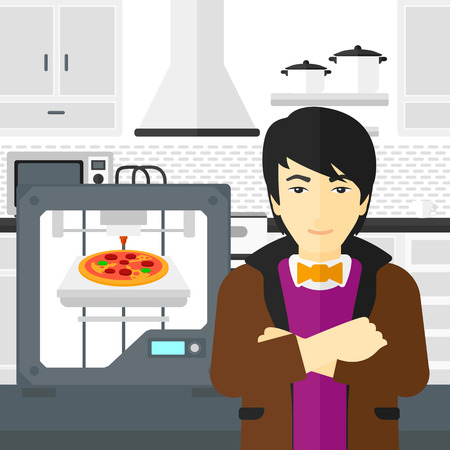 polymerization: An asian man standing near 3D printer making a pizza on a kitchen background vector flat design illustration. Square layout.