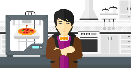An asian man standing near 3D printer making a pizza on a kitchen background vector flat design illustration. Horizontal layout.