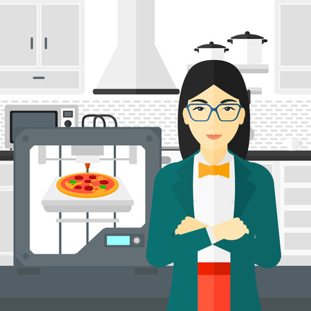 An asian woman standing near 3D printer making a pizza on a kitchen background vector flat design illustration. Square layout. Illustration