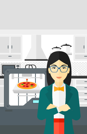 3d pizza: An asian woman standing near 3D printer making a pizza on a kitchen background vector flat design illustration. Vertical layout.