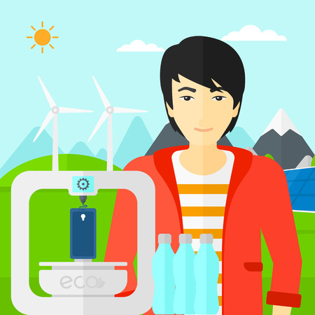 using smartphone: An asian man standing near 3D printer making a smartphone using recycled plastic on the background of solar panels and wind turbines in mountains vector flat design illustration. Square layout.