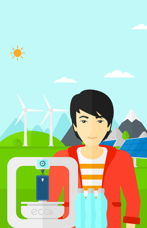 An asian man standing near 3D printer making a smartphone using recycled plastic on the background of solar panels and wind turbines in mountains vector flat design illustration. Vertical layout. Illustration