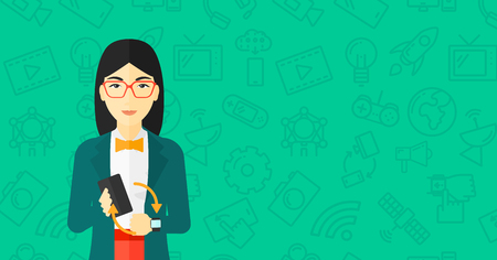 smart woman: An asian woman holding a smartphone and looking at her smart watch on a green background with technology icons vector flat design illustration. Horizontal layout.