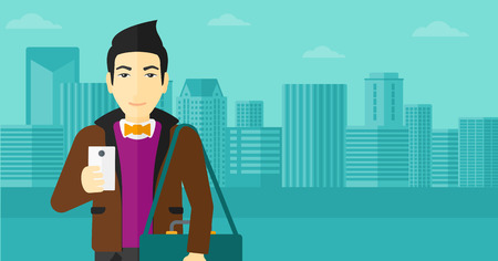 using smartphone: An asian man using a smartphone on a city background vector flat design illustration. Horizontal layout. Illustration
