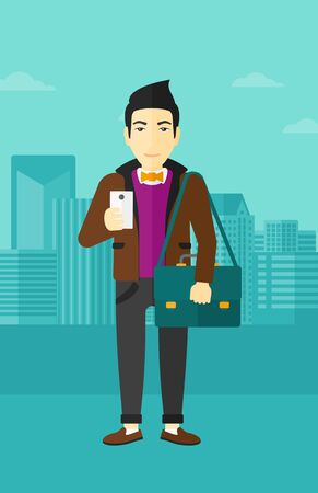 using smartphone: An asian man using a smartphone on a city background vector flat design illustration. Vertical layout.