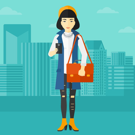 smart phone woman: An asian woman using a smartphone on a city background vector flat design illustration. Square layout.