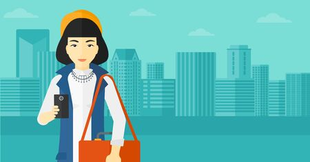 smart phone woman: An asian woman using a smartphone on a city background vector flat design illustration. Horizontal layout.