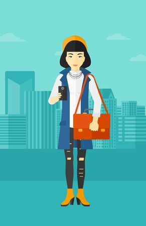 An asian woman using a smartphone on a city background vector flat design illustration. Vertical layout.
