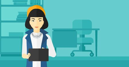woman tablet: An asian woman using a tablet computer on the background of business office vector flat design illustration. Horizontal layout. Illustration