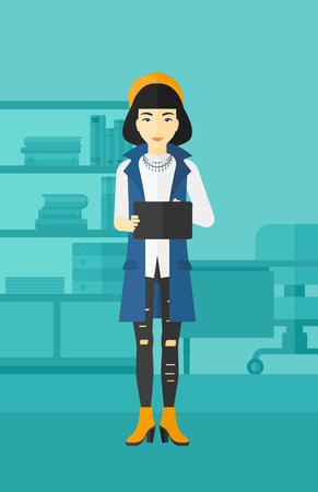 business woman with tablet: An asian woman using a tablet computer on the background of business office vector flat design illustration. Vertical layout.