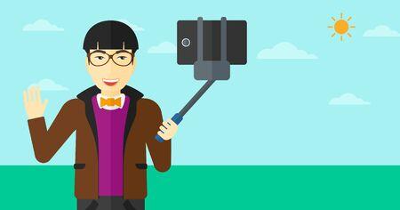 telefono caricatura: Un hombre asi�tico haciendo autofoto con una autofoto se pegue en el fondo de cielo azul ilustraci�n vectorial dise�o plano. disposici�n horizontal. Vectores