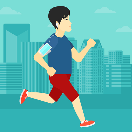 armband: An asian man training with earphones and a smart phone armband on a city background vector flat design illustration. Square layout.