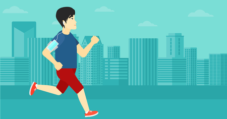 armband: An asian man training with earphones and a smart phone armband on a city background vector flat design illustration. Horizontal layout. Illustration