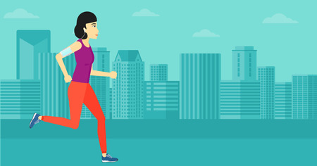 smart phone woman: An asian woman training with earphones and a smart phone armband on a city background vector flat design illustration. Horizontal layout. Illustration