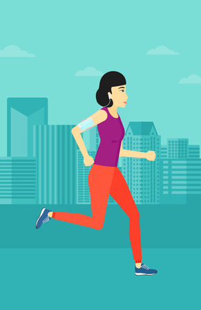 smart phone woman: An asian woman training with earphones and a smart phone armband on a city background vector flat design illustration. Vertical layout.