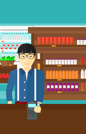 An asian man with smart watch on the wrist making payment transaction on the background of supermarket shelves with products vector flat design illustration. Vertical layout.