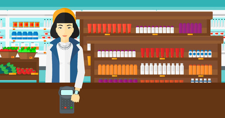 smart woman: An asian woman with smart watch on the wrist making payment transaction on the background of supermarket shelves with products vector flat design illustration. Horizontal layout.