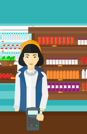 smart woman: An asian woman with smart watch on the wrist making payment transaction on the background of supermarket shelves with products vector flat design illustration. Vertical layout.