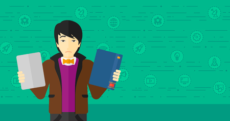 An asian confused man choosing between a tablet computer and a paper book on a green background with technology icons vector flat design illustration. Horizontal layout. Illustration