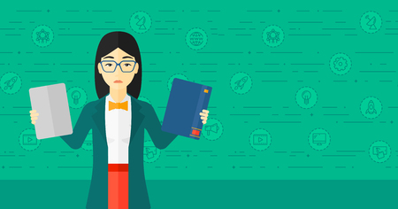 woman tablet: An asian confused woman choosing between a tablet computer and a paper book on a green background with technology icons vector flat design illustration. Horizontal layout. Illustration