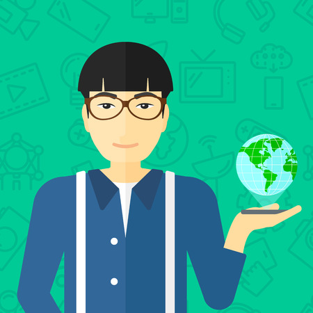 An asian man standing with a smartphone in a hand and a model of globe above the device on a green background with technology icons vector flat design illustration. Square layout. Stock fotó - 54861912