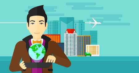 communication cartoon: An asian man standing with a tablet computer in hands and a model of globe above the device on the background of modern city vector flat design illustration. Horizontal layout. Illustration