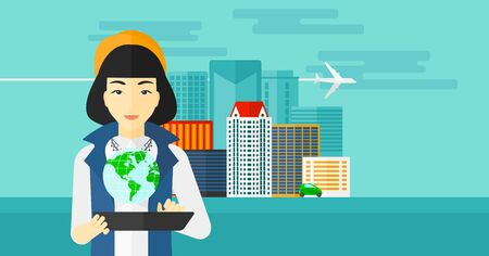 communication cartoon: An asian woman standing with a tablet computer in hands and a model of globe above the device on the background of modern city vector flat design illustration. Horizontal layout.