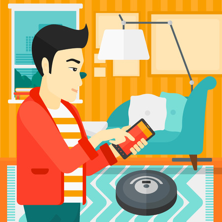 controlling: An asian man controlling robot vacuum cleaner with his smartphone on the background of living room vector flat design illustration. Square layout.