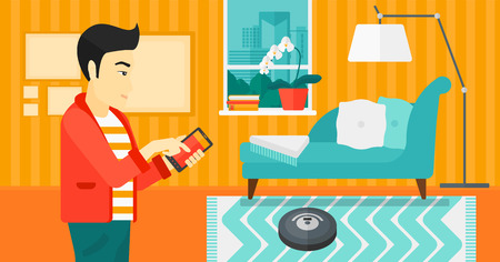 controlling: An asian man  controlling robot vacuum cleaner with his smartphone on the background of living room vector flat design illustration. Horizontal layout.