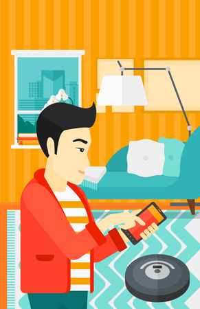 controlling: An asian man controlling robot vacuum cleaner with his smartphone on the background of living room vector flat design illustration. Vertical layout.