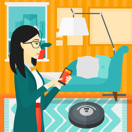 controlling: An asian woman controlling robot vacuum cleaner with her smartphone on the background of living room vector flat design illustration. Square layout.
