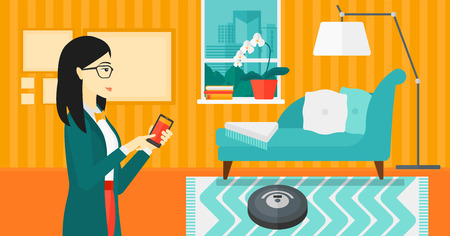 An asian woman controlling robot vacuum cleaner with her smartphone on the background of living room vector flat design illustration. Horizontal layout. 向量圖像