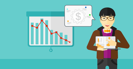 asian man laptop: An asian man pointing at the laptop with some charts on the background of projector roller screen with decreasing chart vector flat design illustration. Horizontal layout.