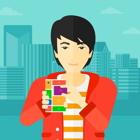 repurpose: An asian man holding modular phone on a city background vector flat design illustration. Square layout. Illustration