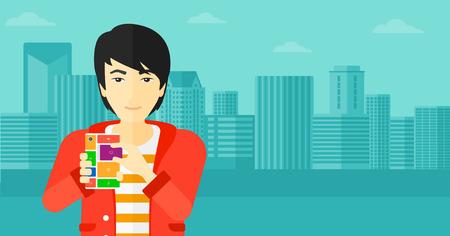 repurpose: An asian man holding modular phone on a city background vector flat design illustration. Horizontal layout. Illustration