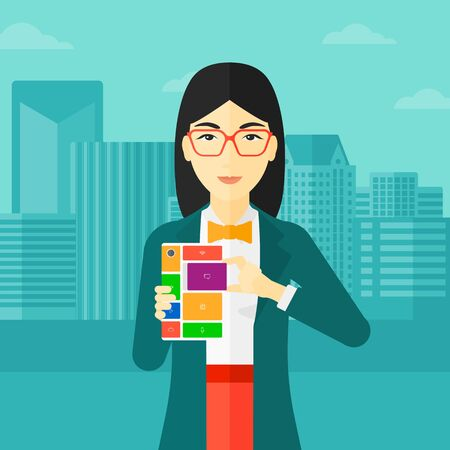 An asian woman holding modular phone on a city background vector flat design illustration. Square layout.
