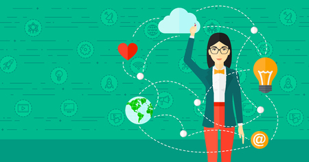 woman illustration: An asian woman writing on virtual board on a green background with technology icons vector flat design illustration. Horizontal layout.