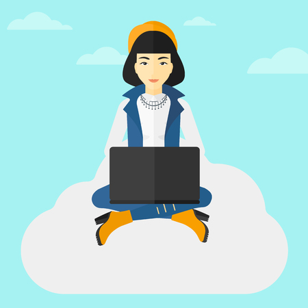woman laptop: An asian woman sitting on a cloud with a laptop on knees on the background of blue sky vector flat design illustration. Square layout.