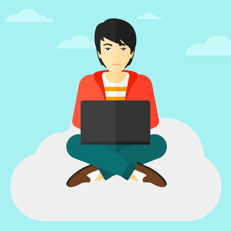 asian man laptop: An asian man sitting on a cloud with a laptop on knees on the background of blue sky vector flat design illustration. Square layout.