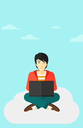 asian man laptop: An asian man sitting on a cloud with a laptop on knees on the background of blue sky vector flat design illustration. Vertical layout.