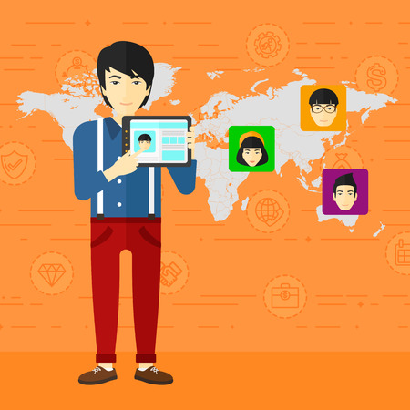 An asian man holding a tablet computer and avatars on the map behind him on an orange background with business icons vector flat design illustration. Square layout.