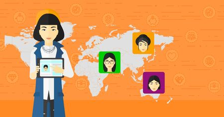 business woman with tablet: An asian woman holding a tablet computer and avatars on the map behind her on an orange background with business icons vector flat design illustration. Horizontal layout. Illustration