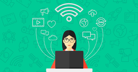 An asian woman working on a laptop and social computer network icons above her on a green background with technology icons vector flat design illustration. Horizontal layout.