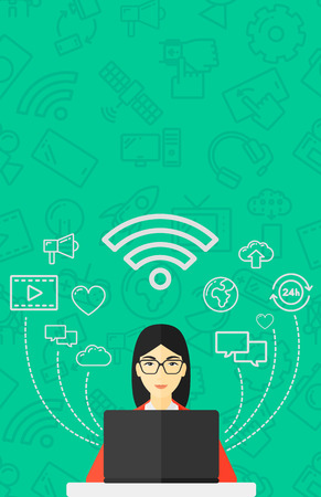 woman laptop: An asian woman working on a laptop and social computer network icons above her on a green background with technology icons vector flat design illustration. Vertical layout. Illustration